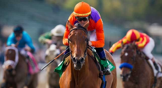 Beholder with jockey Garrett Gomez up wins the 2013 running of the Las Virgines Stakes at Santa Anita Park in Arcadia, California on March 02, 2013.