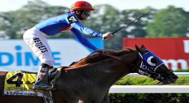 6 June 09: Summer Bird and jockey Kent Desormeaux score an upset win the the Belmont Stakes at Belmont Park in Elmont, New York