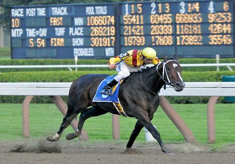 5 September 2009: Rachel Alexandra and jockey Calvin Borel (3) winning the Woodward Stakes at Saratoga Race Track in Saratoga Springs, New Yorkat Saratoga Race Track in Saratoga Springs, New York