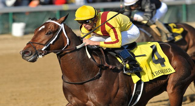 31 October 2010: Garrett Gomez and Astrology take the G3 Iroquois Stakes at Churchill Downs in Louisville, Kentucky.