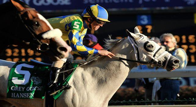 Hansen, ridden by jockey Victor Lebron and trained by Michael Maker beat favorite Union Rags , ridden by jockey Javier Castellano in a photo finish in the Grey Goose Breeders' Cup Juvenile (G1) at at Churchill Downs in Louisville, Kentucky on November 5, 2011..