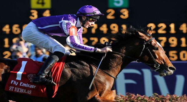 St. Nicholas Abbey, ridden by jockey Joseph O'Brien and trained by Aidan O'Brien wins the Emirates Airline Breeders' Cup Turf (G1) at at Churchill Downs in Louisville, Kentucky on November 5, 2011.