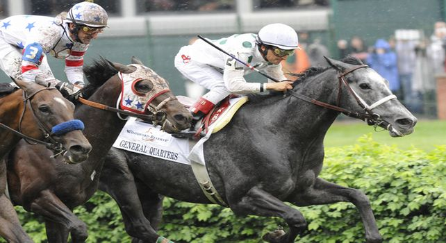10 May 1: General Quarters (no. 2), ridden by Rafael Bejarano and trained by Tom McCarthy, wins the 24th running of the grade 1 Woodford Reserve Turf Classic Stakes for three year olds and upward at Churchill Downs in Louisville, Kentucky.