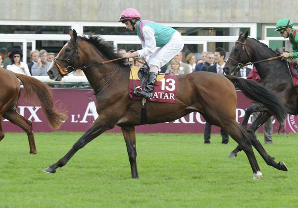 10 October 03: Workforce (no. 13), ridden by Ryan Moore and trained by Sir Michael Stoute, wins the group 1 Prix de l'Arc de Triomphe for three year olds and upward at Longchamp Racecourse in Paris, France. (Bob Mayberger/Eclipse Sportswire)
