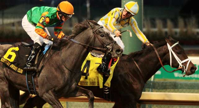 4 Uncaptured and Miguel Mena win the 86th running of the Kentucky Jockey Club at Churchill Downs. November 24, 2012.