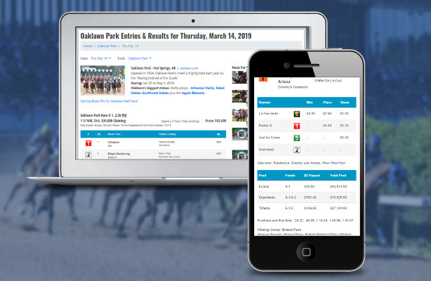 Entries and Results now on Horse Racing Nation