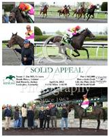 Solid Appeal wins an Allowance race at Keeneland with Joel Rosario.