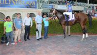 Gala Award with Gary Stevens in the Winner's Circle after his Maiden Special Weight win at Gulfstream Park.