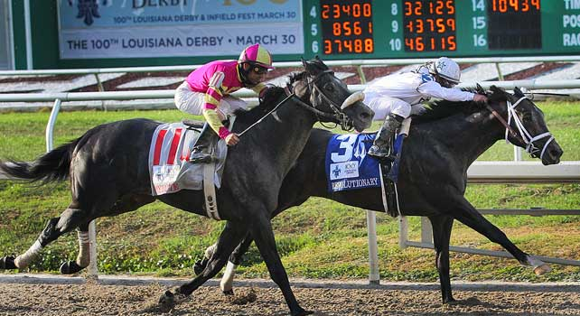 Revolutionary ridden by Javier Castellano wins The 100the Running of the Louisiana Derby at Fair Grounds Race Course in New Orleans, Louisiana on March 30, 2013.