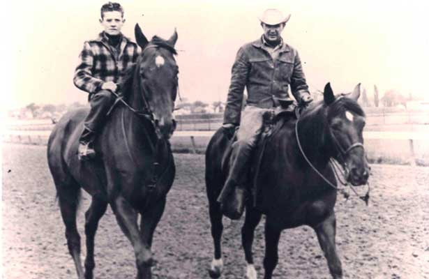 Art Sherman, 18,  astride legendary Swaps, with trainer Mesh Tenney