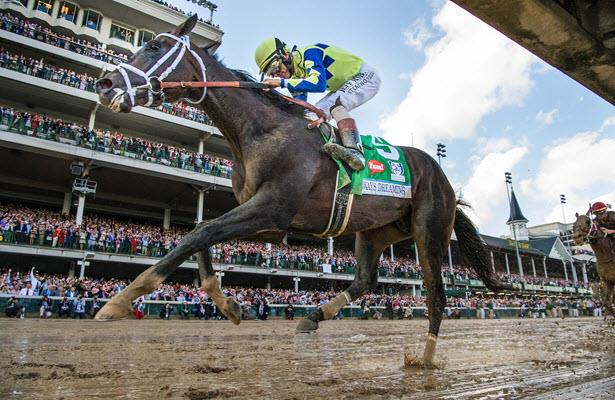 Always Dreaming win the 2017 Kentucky Derby with jockey John Velazquez for trainer Todd Pletcher.