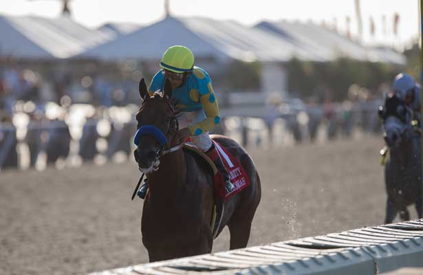 SEP 3,2014:American Pharoah,ridden by Victor Espinoza,wins the Del Mar Futurity at Del Mar in Del Mar,CA. Kazushi Ishida/ESW/CSM
