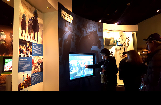 Guests get a look at the new American Pharoah permanent exhibit at the Kentucky Derby Museum, Feb. 16 2017.