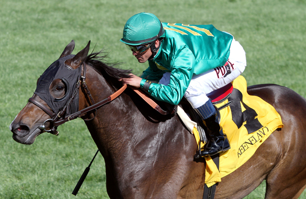 April 11, 2015: Ball Dancing and jockey Javier Castellano win the 27th running of The Jenny WIley Grade 1 $300,000 at Keeneland Race Course for owner Humphrey Jr., G. Watts and St. George Farm Racing and trainer Chad Brown . Candice Chavez/ESW/CSM