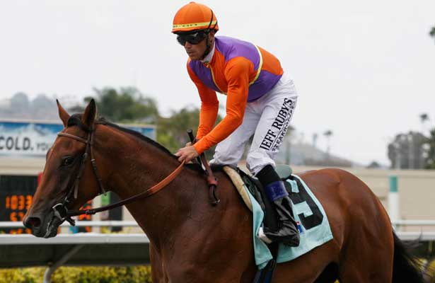 Beholder winning a 2 yr. old Maiden race at Del Mar Race Course in Del Mar, California on July 22, 2012.