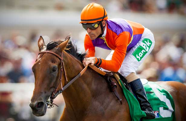 Beholder with Gary Stevens wins the Torrey Pines Stakes at Del Mar Race Course in Del Mar, CA on September 1, 2013. (Alex Evers/ Eclipse Sportswire)
