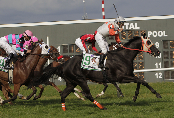 Ben's Cat with ridder Jeremy Rose wins the Grade 3 Turf Monster Handicap at Parx Racing on September 5, 2011.