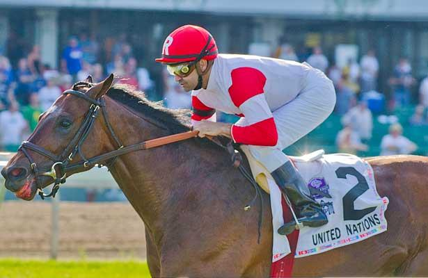 "Big Blue Kitten, Joe Bravo up, wins the GI United Nations Stakes, a ""Win and You're In Turf Division"" Breeders Cup Challenge Race at Monmouth Park in Oceanport, New Jersey."