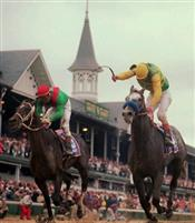 Captain Bodgit (red cap) in Kentucky Derby 1997.