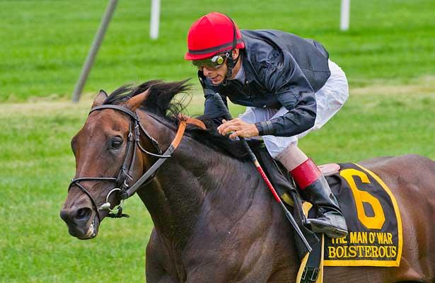 Boisterous, John Velazquez up, wins the 55th Grade I Man o' War Stakes at Belmont Park in Elmont New York.