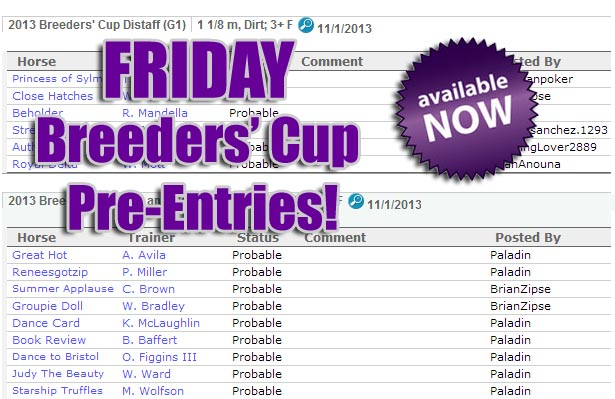 Breeders' Cup 2013 Pre-Entries Friday