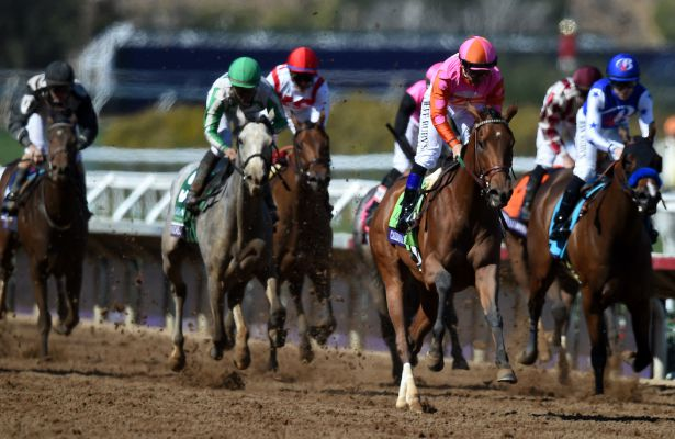 DEL MAR, CA - NOVEMBER 04: Caledonia Road #12, ridden by Mike Smith pulls ahead during the 14 Hands Winery Breeders' Cup race on Day 2 of the 2017 Breeders' Cup World Championships at Del Mar Racing Club on November 4, 2017 in Del Mar, California. (Photo by John Durr/Eclipse Sportswire/Breeders Cup)