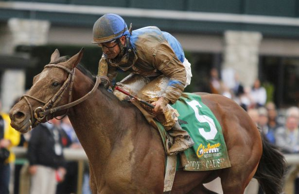 "October 03, 2015: Brody's Cause and jockey Corey Lanerie win the 102nd running of the Claiborne Breeders' Futurity (Grade 1) $500,000 ""Win and You're In Juvenile Division"" for trainer Dale Romans, and owner Albaugh Family Stable. Candice Chavez/ESW/CSM"