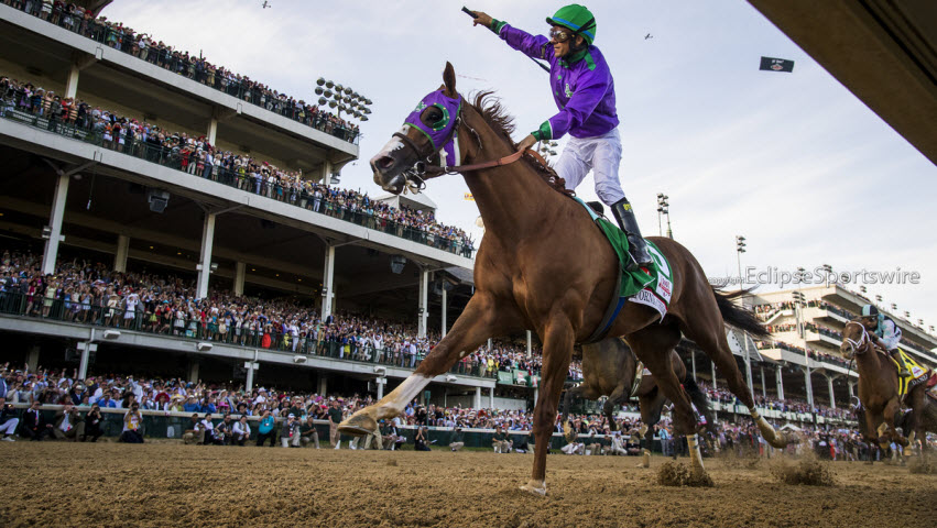 California Chrome, jockey Victor Espinoza up, wins the 2014 Kentucky Derby for trainer Art Sherman and DAP Stable at Churchill Downs, Louisville, KY.