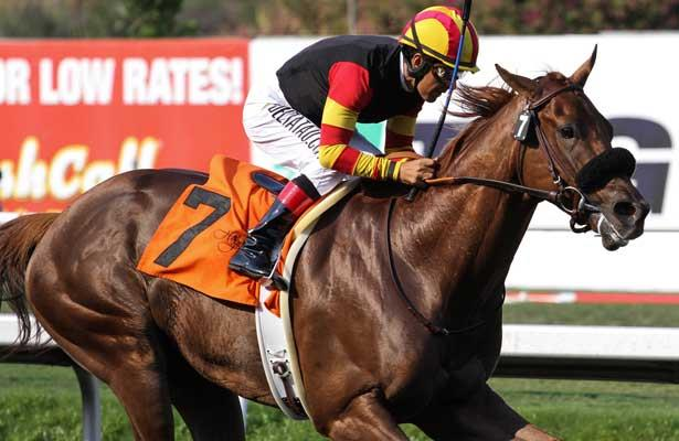 "Centralinteligence with Victor Espinoza aboard wins the G1 ""Win and Your In"" Triple Bend Handicap at Betfair Hollywood Park in Inglewood, California on June 29,2013. (Zoe Metz/ Eclipse Sportswire)"
