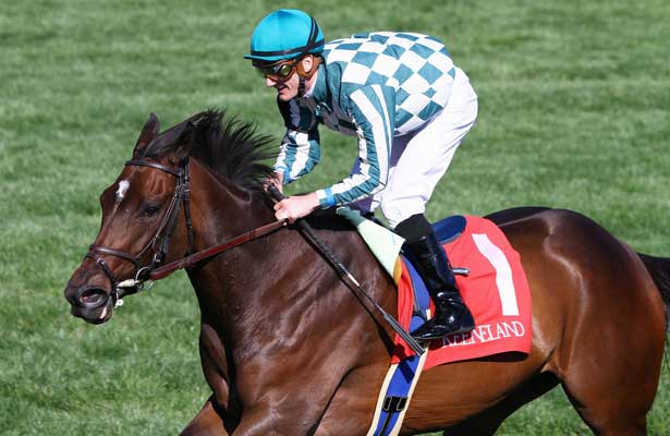 Centre Court and Julien Leparoux win the 25th running of the Jenny Wiley Grade 1 $300,000 at Keeneland Racecourse for owner G. Watts Humphrey Hr. and trainer George Arnold. April 13, 2013.