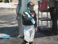 September 15, 2009: Jockey Chris Rosier at Louisiana Downs following his 2nd place finish aboard Rodeo Miss.