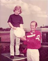 Dad and Son Wayne at Monmouth Park winners circle 1975