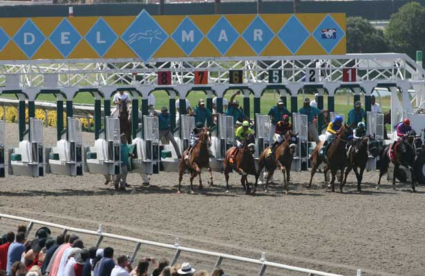 23 July 2009: Horses break from the gate at Del Mar Race Track, Del Mar, CA