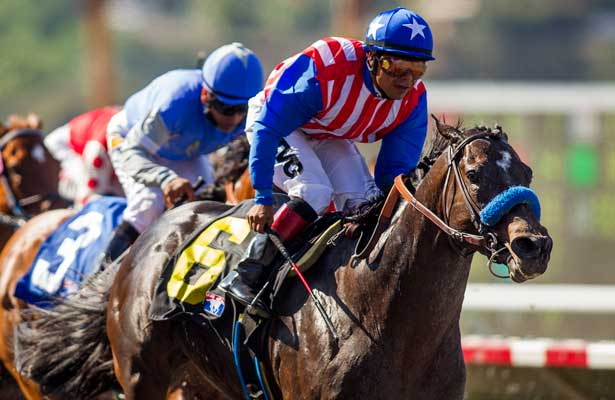 Fed Biz with Martin Garcia (left) defeats Goldencents to win GI Pat O'Brien Stakes at Del Mar Race Course in Del Mar, CA on August 25, 2013. (Alex Evers/ Eclipse Sportswire)