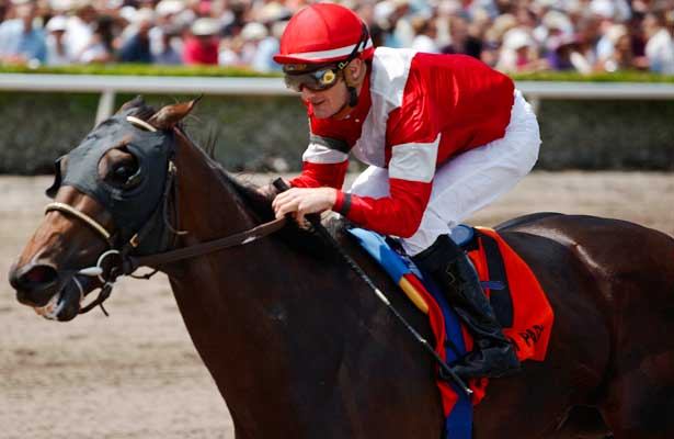 Fort Larned with jockey Julien Leparoux wins the Skip Away Stakes(G3). Gulfstream Park Hallandale Beach Florida. 03-31-2012. Arron Haggart/Eclipse Sportswire