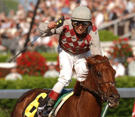 Funny Cide and Jose Santos capture the 2003 Kentucky Derby