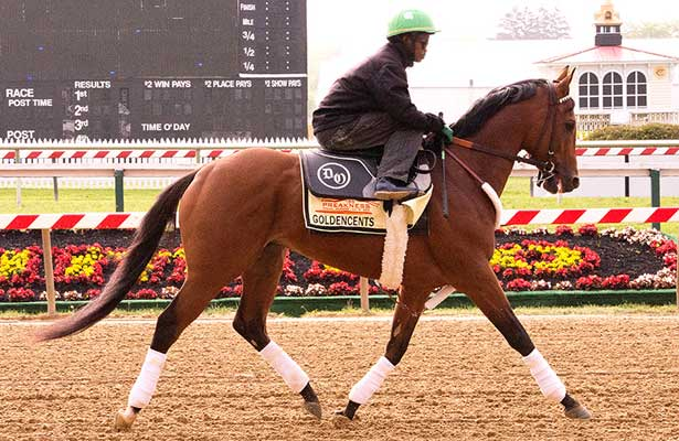 Goldencents gallops at Pimlico.