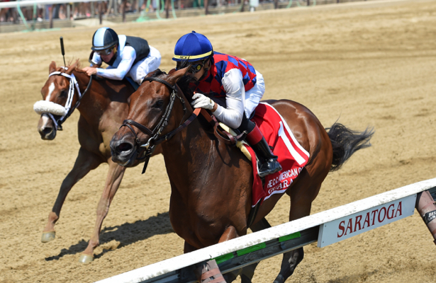Star filly Guarana stretches, wins Coaching Club American Oaks