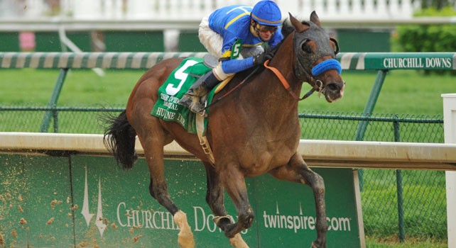 Hurricane Ike storms home in the 2010 Derby Trial under jockey Calvin Borel