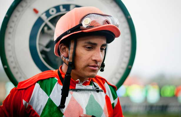 Jockey, Rafael Bejarano weighs out after a race at Santa Anita Park in Arcadia California on February 11, 2012.