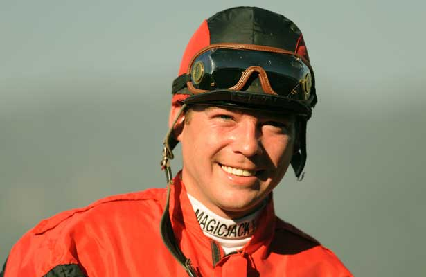 October 17, 2009. Jockey Tyler Baze after winning the Sen. Ken Maddy Handicap riding Gotta Have Her, Oak Tree at Santa Anita Park, Arcadia, CA