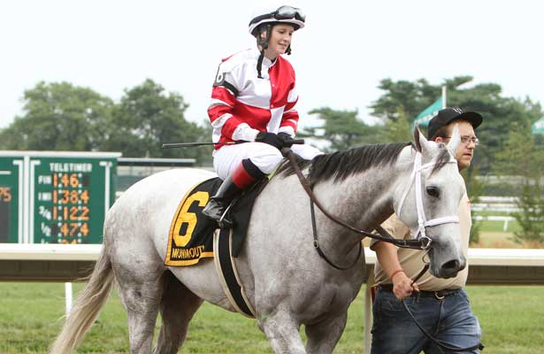Joyful Victory with Rosie Napravnik win the68th running of the Grade II $200,000 Molly Pritcher for fillies & mares, 3-year olds & up, going 1 1/16 mile at Monmouth Park. Trainer J. Larry Jones. Owners Fox Hill Farms