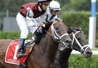 Justenuffhumor captures the 2009 Bernard Baruch at Saratoga with a late rush to sweep by Cowboy Cal