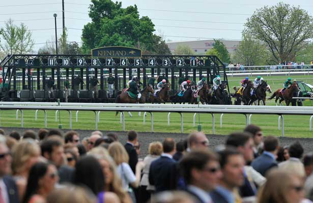 Fans watch the start of the 5th race at Keeneland Race Course in Lexington, Kentucky Saturday April 14, 2012. (Eric Patterson/ Eclipse Sportswire)