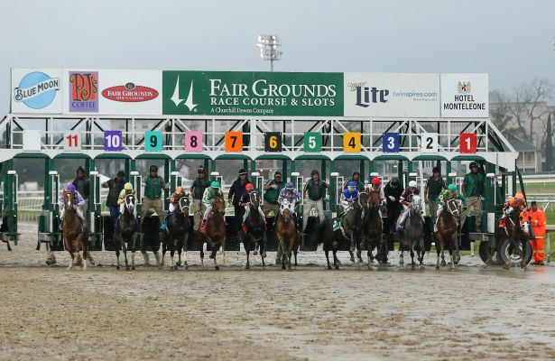 Out of the gates during the LeComte Stakes at the Fairgrounds Race Course on January 21,2017 in New Orleans, Louisiana. (Photo by Steve Dalmado/Eclipse Sportswire/Getty Images)