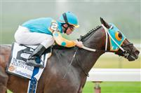Justin Phillip, piloted by Ramon Dominguez, wins the 2011 Woody Stevens at Belmont.