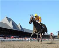 My Miss Aurelia and jockey Julien Leparoux win the Mandys Gold at Saratoga Race Course