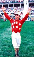 Jockey Pat Day after winning the 1992 Kentucky Derby aboard Lil E. Tee