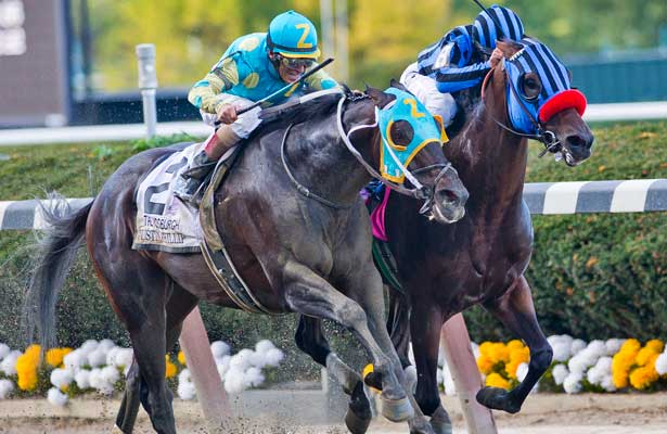 Private Zone, ridden by Martin pedroza, outruns Justin Phillip, ridden by John Velazquez, as he wins the 74th running of the Vosburgh Invitational on Jockey Club Gold Cup Day at Belmont Park in Elmont, New York on September 28, 2013.
