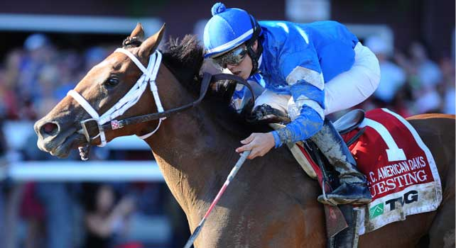 Questing winning the Grade 1, $300,000 TVG Coaching Club American Oaks at Saratoga Race Course. It was jockey Irad Ortiz Jr.'s first graded stakes victory. Credit NYRA, Adam Coglianese